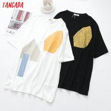 Tangada Vrouwen Stijlvolle Print T Shirt Korte Mouw O Hals Basic Tees Dames Zomer Streetwear Chic Tops Camisetas XLJ03