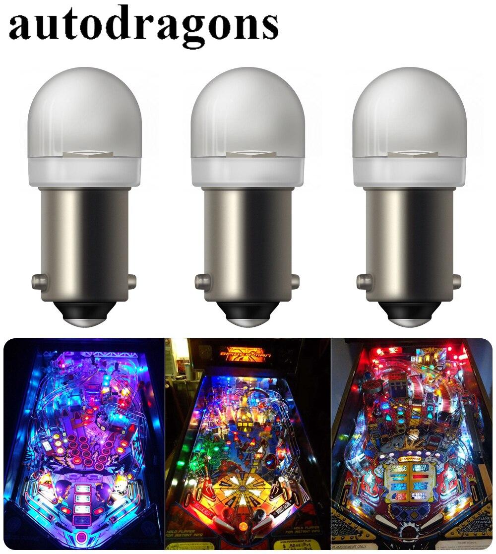 Autodragons, súper brillante, sin Ghost, sin fliker, 20 piezas, Blanco transparente #44 #47 BA9S bayoneta AC 6,3 V SMD 5050, 3 chips led pinball