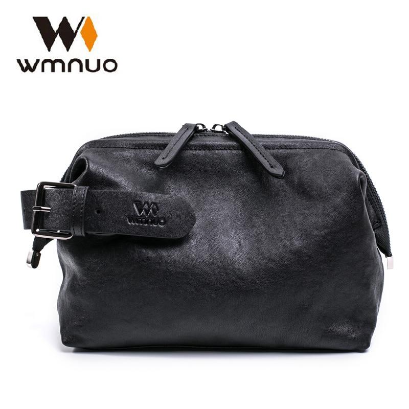 Wmnuo العلامة التجارية حقيبة صغيرة الرجال جلد طبيعي سستة منظم محافظ رجل جلد البقر طويل مفيد محفظة متعددة الوظائف حقيبة الهاتف