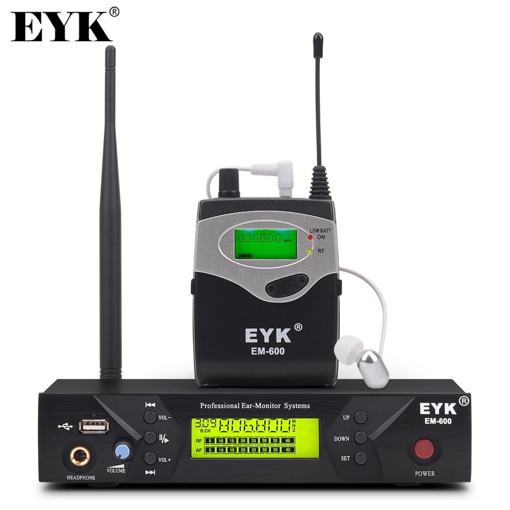 EM-600 UHF اللاسلكية في نظام مراقبة الأذن المهنية المرحلة الأداء أنظمة مراقبة الأذن مع جهاز إرسال Bodypack واحد