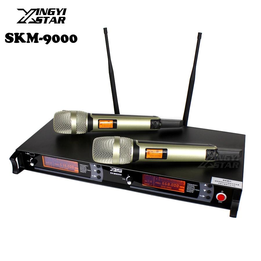 SKM9000 100 m UHF ميكروفون لاسلكي المهنية الكاريوكي نظام لاسلكي مزدوج Mic 2 قناة استقبال KTV Microfono Inalambrico