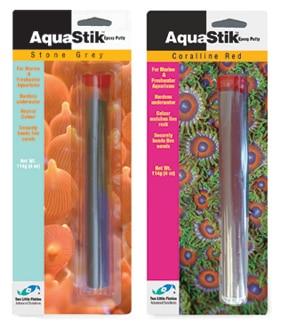 Masilla epoxi subacuática AquaStik de dos peces pequeños/AquaStik coralina roja/piedra gris AquaStik