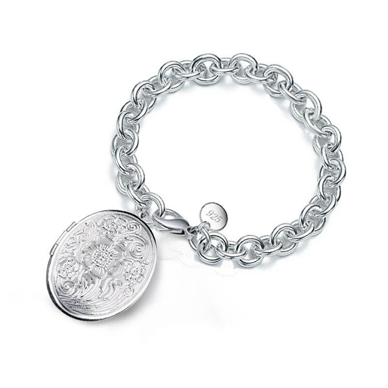 Envío Gratis, bajo precio, cadena de Plata de Ley 925 grueso de plata esterlina, foto de flores, medallón, pulsera para amantes de las mujeres, fiesta de baile