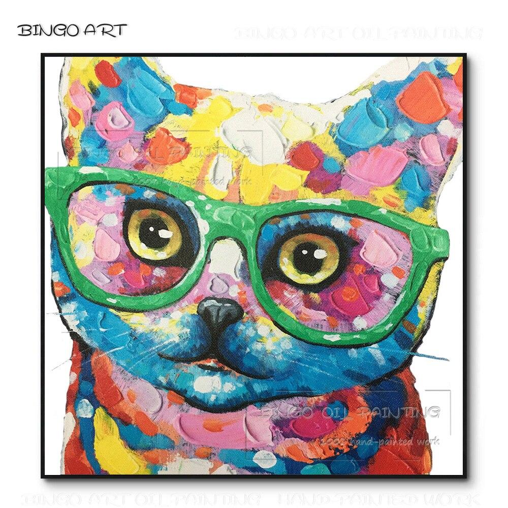 New Arrivals Mão-pintado Animal Gato Com Óculos de Alta Qualidade Pintura A Óleo sobre Tela Pop Arte Pintura Do Gato para a Decoração Da Parede