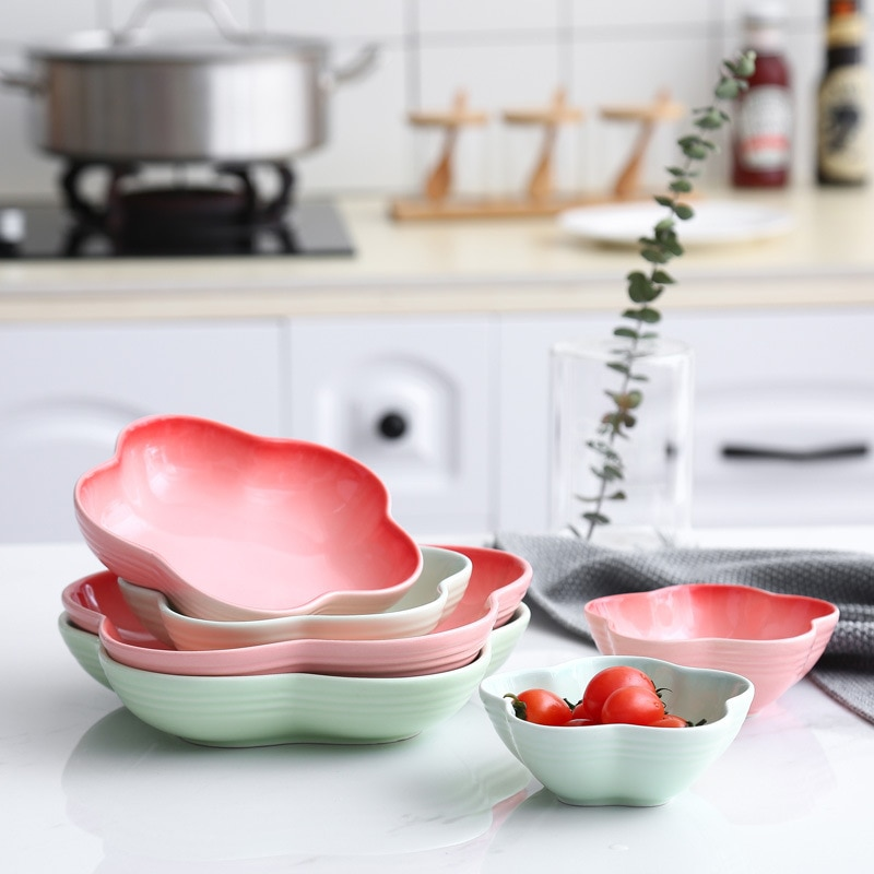 Prato de jantar rosa prato verde bandeja flor forma salada prato conjunto bandeja de alimentos assíette louça prato recipiente de alimentos placa profunda 1pcs