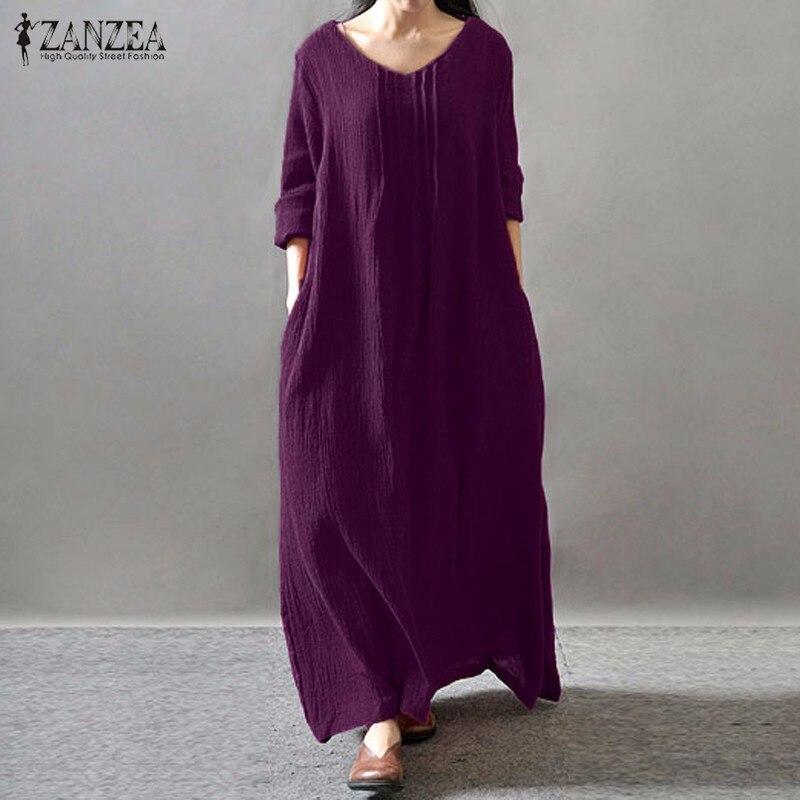 Vestido elegante feminino 2020 outono zanzea v pescoço manga comprida andar de comprimento casual solto sólido retro maxi longo vestidos plus size