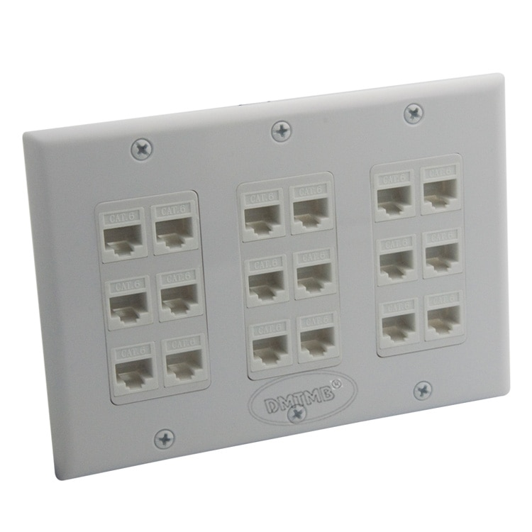 3 gang face plate, 18 портов CAT6 rj45, сетевая Женская настенная пластина с отверстиями для ключей и поддержкой «сделай сам»