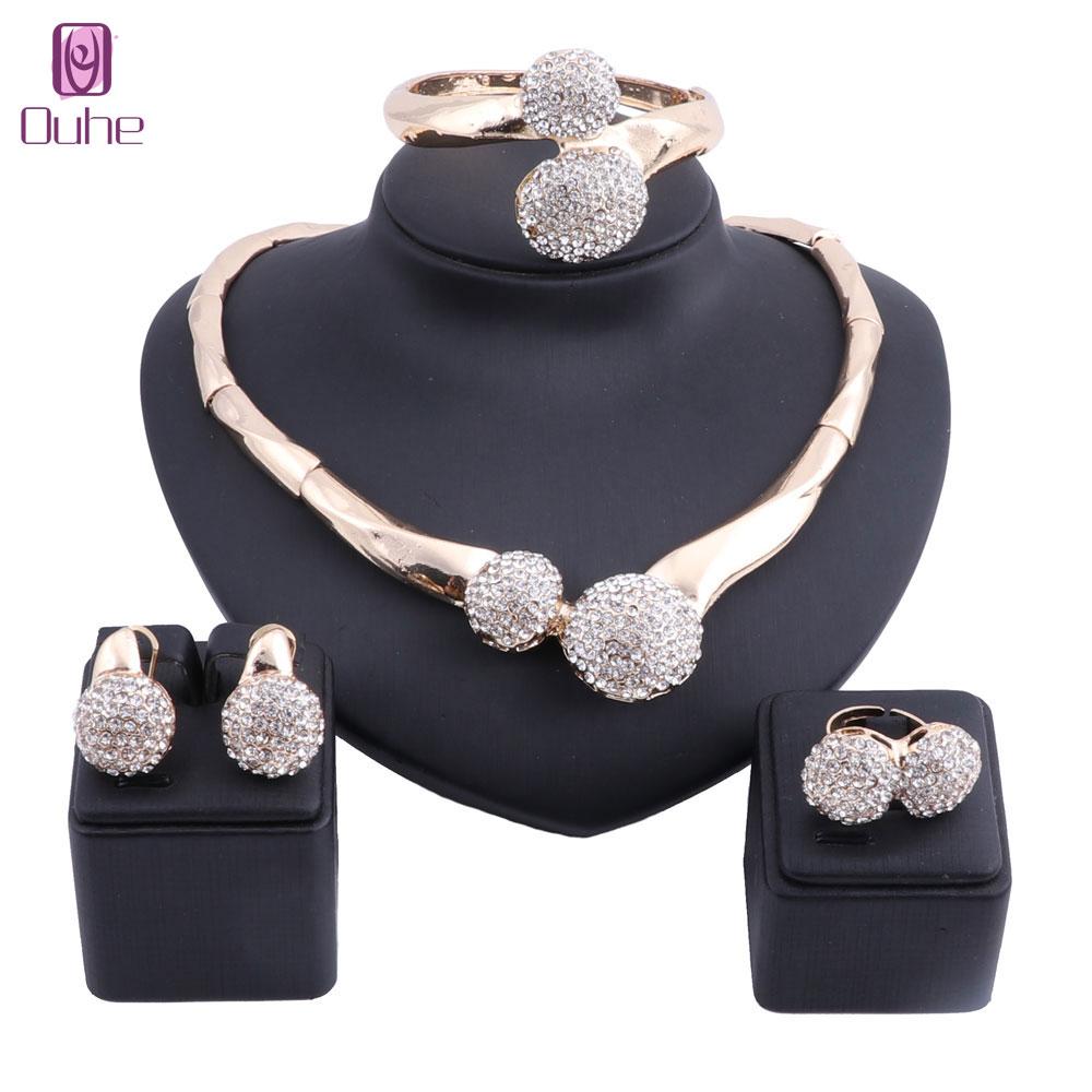 Conjunto de joyas de pendiente y collar de cristal de Color dorado de Dubái, conjunto de joyas de moda para boda nigeriana con cuentas africanas para mujer