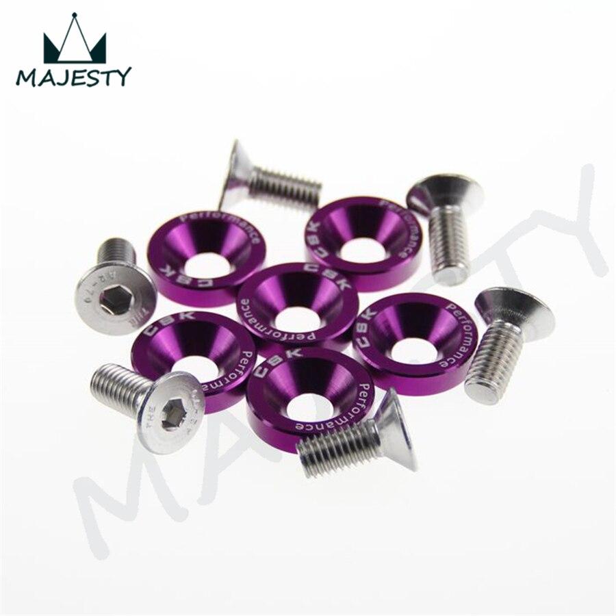 6 tornillos pasadores hexagonales M8 para guardabarros, arandelas para motor, tornillos cóncavos JDM púrpura