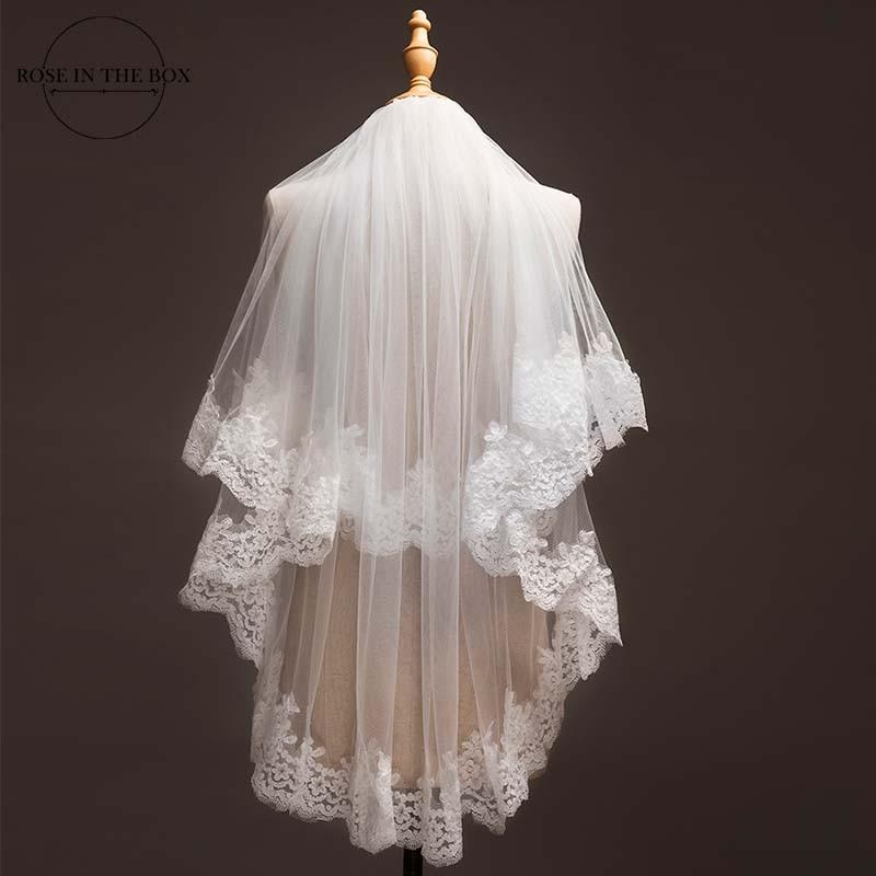 Voile Mariage 1,2 Meter Spitze Edage Kurze Hochzeit Schleier 2019 Tüll Ivory/Weiß Braut Schleier Hochzeit Zubehör Velos de novia