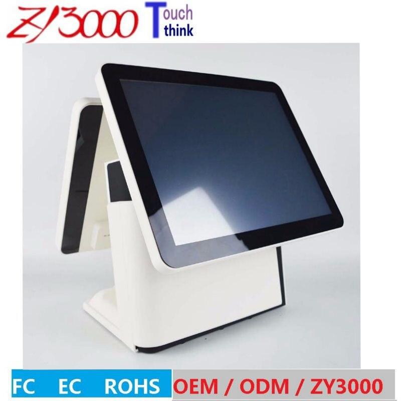 الجملة 4 وحدات/مجموعة مصنع سوبر 15 بوصة شاشة مزدوجة الكل في واحد شاشة تعمل باللمس لماكينة نقاط البيع POS الطرفية بالسعة مع قارئ الرعاية MSR