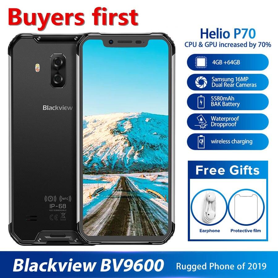 Перейти на Алиэкспресс и купить 2019 Новый Blackview BV9600 IP68 Водонепроницаемый мобильный телефон на процессоре Helio P70 Android 9,0 4 Гб + 64 Гб 6,21 дюйм19:9 активно-матричные осид, 5580 мАч для смарт...