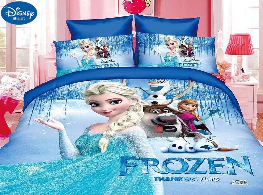3Pcs Cotton Children  Bedding Set  Girl bed set Frozen Anna Elsa Girl bed set dorm room bedding bag pillowcase sheet