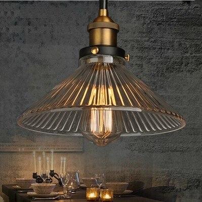 60W Retro Loft Style Edison Pendant light Vintage Industrial Lamp In Glass Lampshade Lamparas