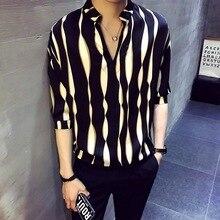 Rayure pull chemise hommes herren hemd camisa masculina chemise homme coréen mode élégant concepteur chemise hommes 2020