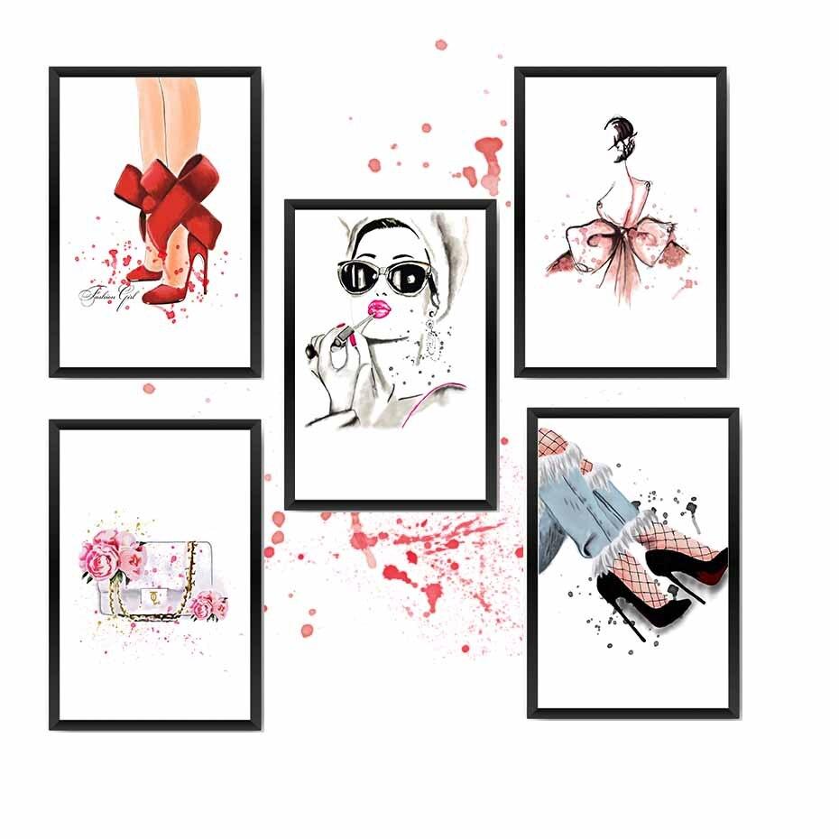 Moda senhora poster & prints para menina sala de vestir imagem da parede pintura em tela para decoração de casa vermelho saltos altos lábio-vara arte mural