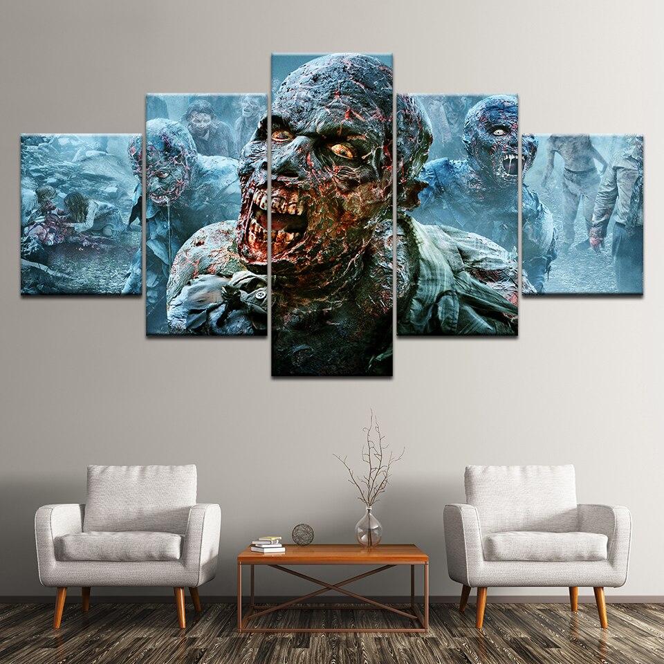 5 paneles de pintura de zombis Walking Dead Z Nation, lienzo de pared, cuadro de arte, decoración del hogar, lienzo impreso para sala de estar, pintura moderna