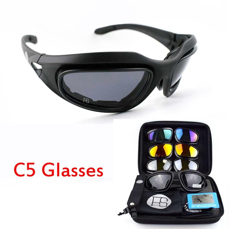 Deportes al aire libre C5 X7 gafas de sol polarizadas para senderismo escalada gafas tácticas militares gafas con 4 lentes
