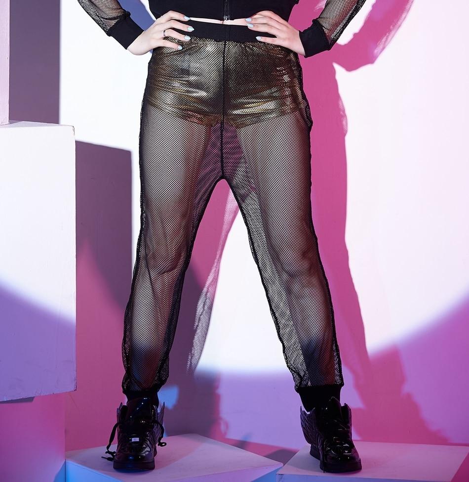 2016 Sexy women black Hip Hop Dance pants casual wide leg hollow out trousers female