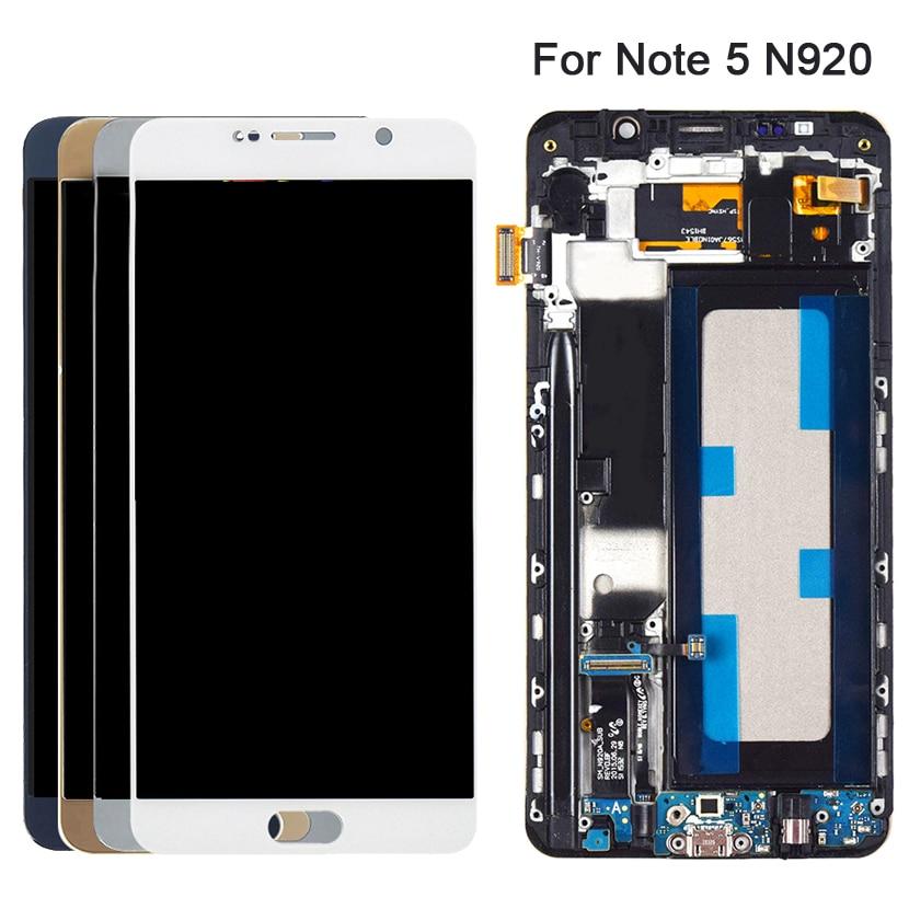 Pantalla LCD AMOLED Original para SAMSUNG Galaxy Note 5, pantalla táctil, digitalizador con marco de repuesto, pantalla LCD N920