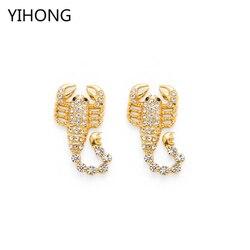 Gold Farbe Skorpion Legierung Anhänger mit Kristall Ohrringe für Frauen Charme Tierohrstecker Ohren Brinco Schmuck