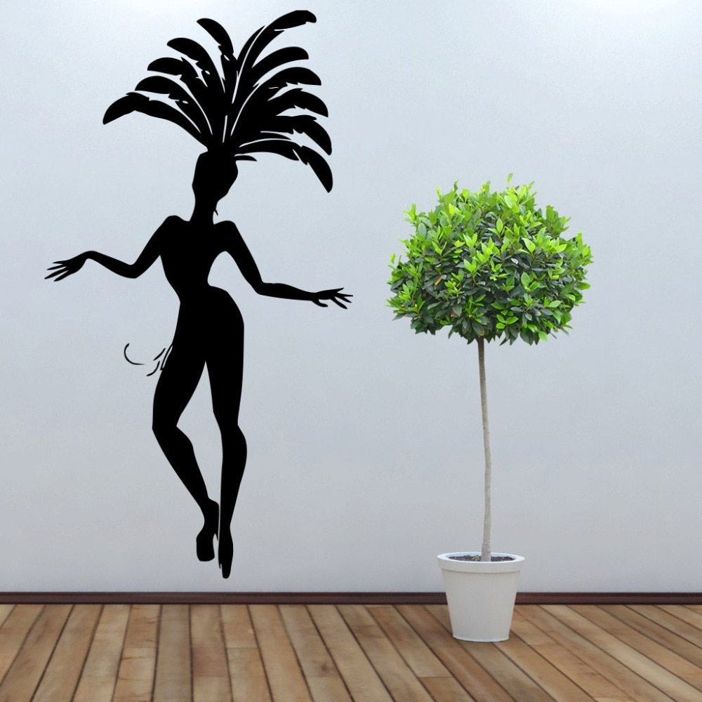 Pegatina De pared De Carnaval De Río De Brasil máscara De baile Flamenco pluma Interior PEGATINAS ARTE sala De estar sala De juegos arte MuralSYY335