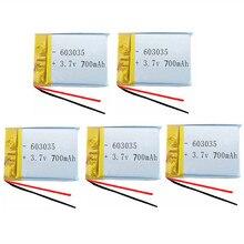 5 pièces Lithium-polymère 3.7, 700 V, 603035 mAh, li-po li-ion, rechargeables, pour Mp3 MP4 MP5 GPS PSP mobile, bluetooth