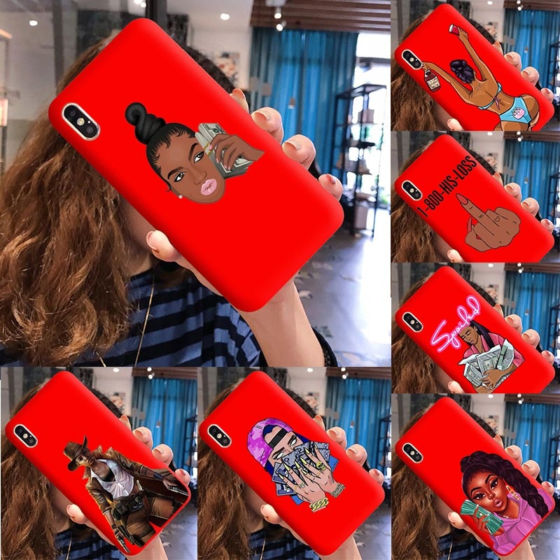 Funda para teléfono KDMOJI Money Fundas para iPhone 7 s X XR XS Max 8 7 cubierta de TPU de silicona roja caramelo 6 s Plus