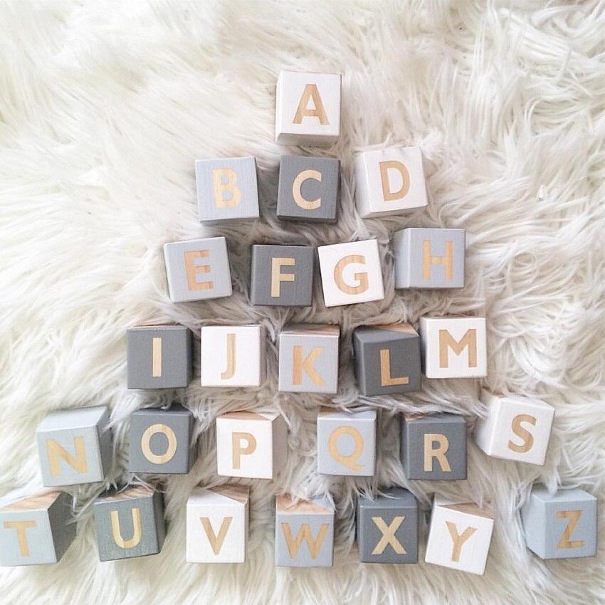 Оригинальный Деревянный 26 Алфавит квадратный блок украшение для детской комнаты Настенные наклейки Детские учения