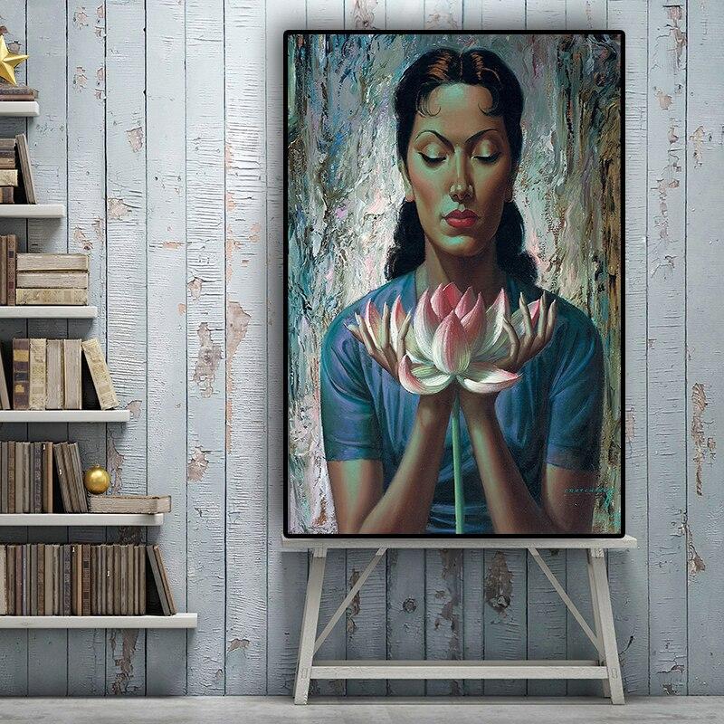 Retrato de lirio de agua pintura al óleo sobre lienzo Tretchikoff Vladimir carteles e impresiones imagen artística para pared escandinava para sala de estar