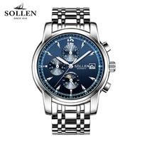 watch men SOLLEN 803 automatic mechanical watches fashion steel clock waterproof multi-functional male wristwatches 803
