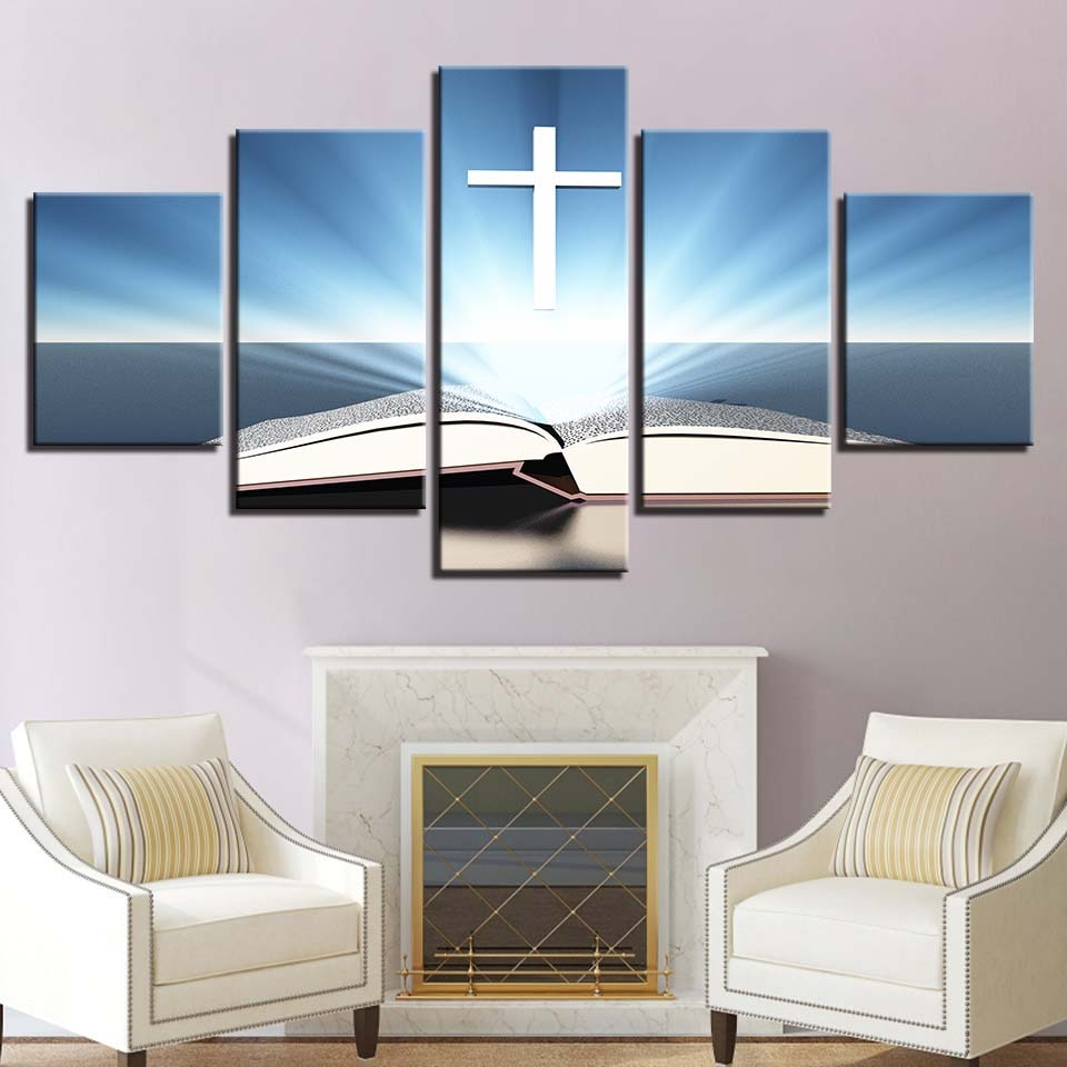 Marco impreso en HD cuadros de salón modernos 5 libros de paneles lienzo cruzado póster de arte de pared decoración del hogar Pintura modular