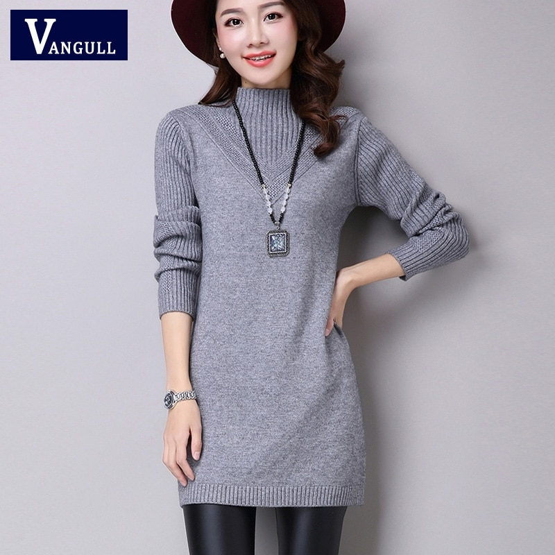 Vangull mujeres de cuello alto ajustado de punto lana Lisa Mini vestido 2019 nueva moda señoras básico largo manga invierno otoño vestidos calientes