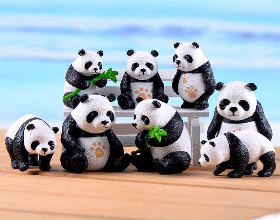 20 piezas de animales grandes/pequeños adornos de Panda hadas miniaturas de jardín decoraciones para musgo de terrario Bonsai maceta manualidad casera