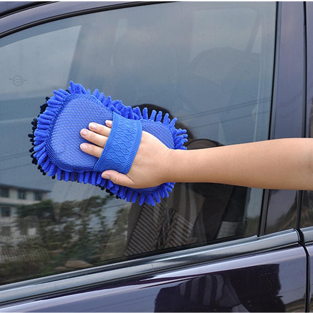 Guantes de lavado de coches esponja de limpieza de coche limpieza de ventanas de coche fibra ultrafina Chenille antozoan lavadora esponja cepillo suministros 20x14cm