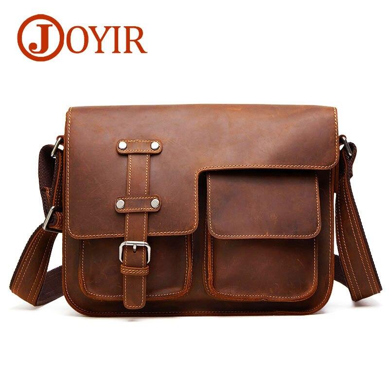 JOYIR مجنون الحصان جلد طبيعي أسود الرجال حقائب كروسبودي حقيبة Vintage حقيبة ساعي بريد للرجال الكتف حقيبة سفر 6302