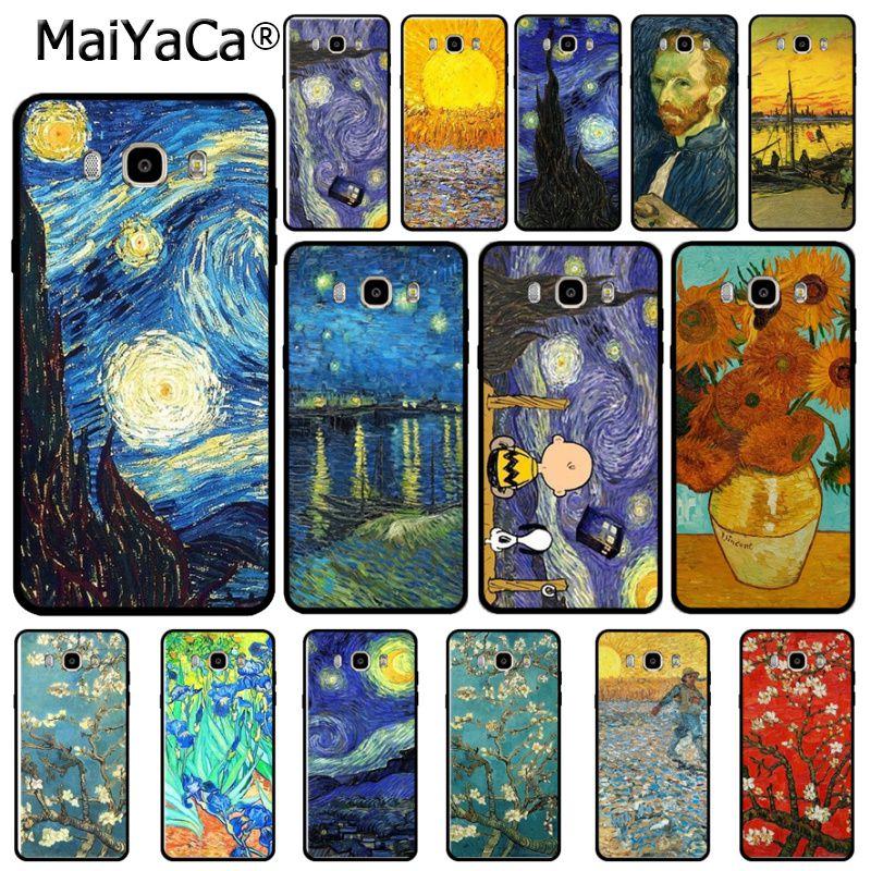 Noche Estrellada de Van Gogh pintura de moda de lujo 3D teléfono funda para Samsung j7 2017 j6 j2pro Nota 4 note5 note8 note9 s9case coque