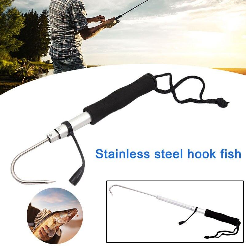 Nuevo gancho de pesca en hielo garfio telescópico arpón de pescado pesca de acero inoxidable gancho de mano garfis C55K venta