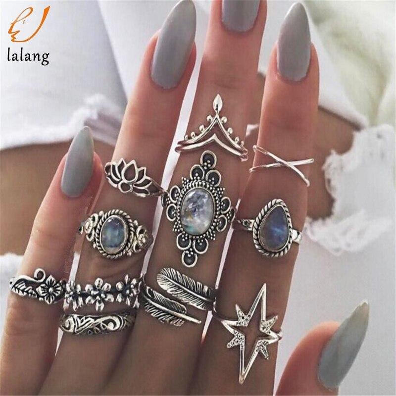 Conjuntos de anel boêmio para as mulheres de prata antigo cor midi conjuntos de anel de cristal vintage knuckles moda dedo jóias bague femme