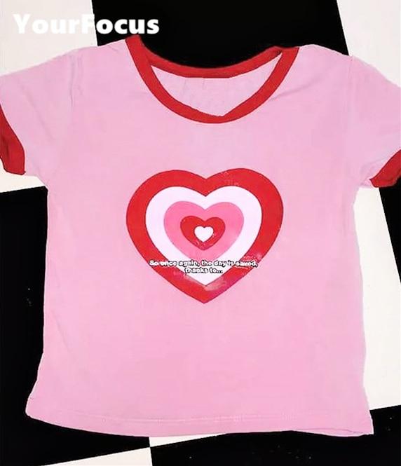 Cute kawaii sweet heart pink crop top Women T-shirt SAVE THE WORLD RINGER cropped Harajuku T-shirts women tops and Camis