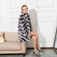 thick warm soft real rex rabbit fur coat long chinchilla color with standing collar winter striped pattern full length sleeve co