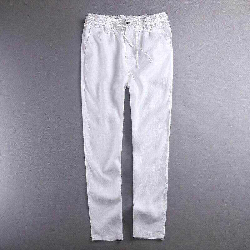 100% leinen hosen männer sommer reiner flachs herren hosen solide weiß hosen männer mode frühling herbst hosen männlichen marke pantalon hombre
