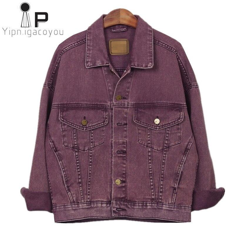 Harajuku Spring Denim Jacket Women 2020 Big size Vintage Purple Jeans Jackets Female Ladies Casual Basics Coat Women Streetwear