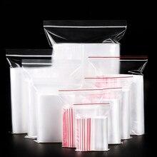 Sac à fermeture éclair en option 100 pièces/paquet   8 tailles, sacs de rangement pour emballage daliments et bijoux, Mini sacs à fermeture éclair