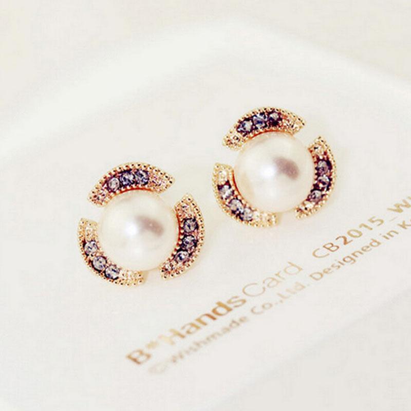 Women's girl's stud earrings round alloy pearl earring sweet Korean style cute jewelry popular gift  #ER141