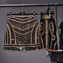 Cakucool femmes rétro noir pailleté sexi Mini jupe Vintage jupe crayon taille haute doré Silm moulante piste jupe sequin femme