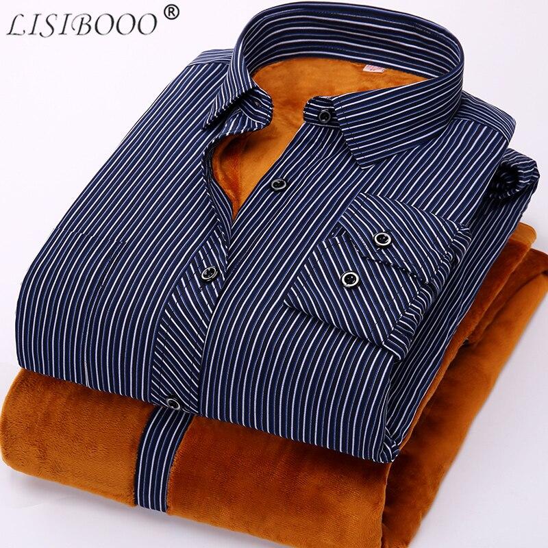 2018 модная мужская рубашка в полоску, хлопковая рубашка с длинным рукавом, зимняя фланелевая теплая Повседневная Мужская классическая рубаш...