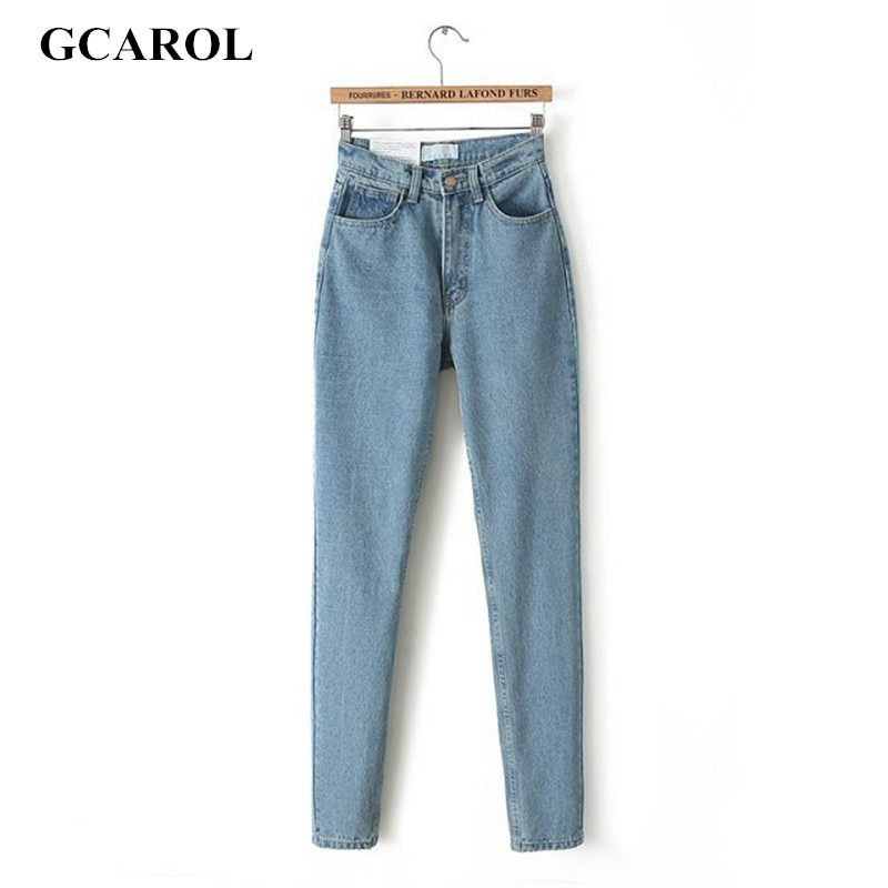 GCAROL 2021 Women High Waist Denim Jeans Vintage Slim Mom Style Pencil Jeans High Quality Basic Denim Pants For 4 Season