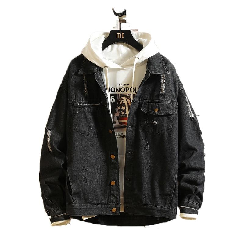 2019 Mens Jeans Buraco Homens Jaqueta Bomber Jackets Casaco Masculino Jaqueta Jeans de Alta Qualidade Do Vintage Sólida Chaqueta Hombre Streetwear M-5XL