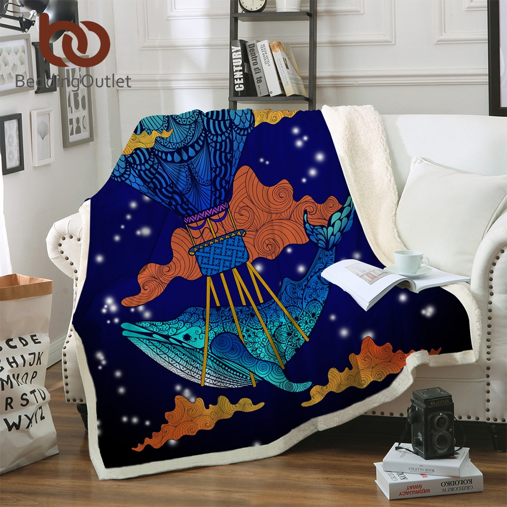 Manta BeddingOutlet de ballena azul Sherpa manta en la cama de dibujos animados Textiles para el hogar Boho Floral battaniye 150x200cm 1 ud.